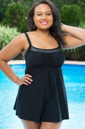 Delta Burke Plus Size Peasant Swimdress w/ Studs #826