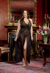 Plus Size Lingerie Embellished Chiffon Gown w Matching G String