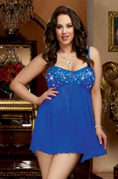 Plus Size Lingerie Jeweled Babydoll & Thong