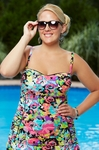 Women's Plus Size Swimwear - Kenneth Cole Reaction Separates In Full Bloom Rouched Bandeau Tankini Top