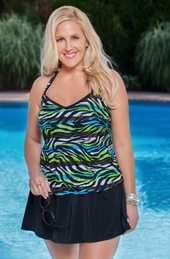 Women's Plus Size Swimwear - Always 4 Me Zebra Stripes Tankini