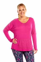 Plus Size Activewear Marika Curves Plus Ashlee Long Sleeve Tunic #MKF064FA - Festival Fuchsia $35