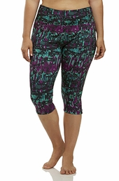 Plus Size Activewear Marika Curves Plus Printed Capri Legging #MKB053FA - Imperial Purple $35