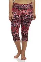 Plus Size Activewear Marika Curves Plus Printed Capri Legging #MKB053FA - Shell Pink $35