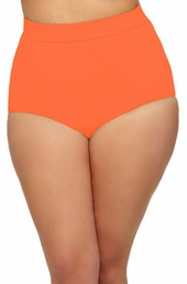 Women's Plus Size Swimwear - Monif C Separates Sao Paulo Hi Waist Bikini Bottoms ONLY #702B - Orange ON SALE $52.50