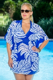 Plus Size Cover Ups Always For Me Cover Palm Leaf Tunic