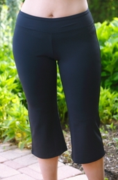Women's Plus Size Activewear - Always For Me Active Micro Poly Capri #A1224 - Black ON SALE $24.50