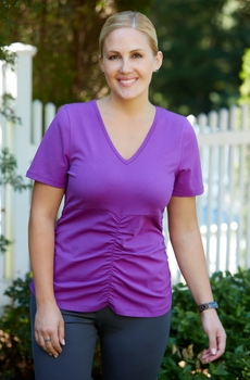 Women's Plus Size Activewear - Always For Me Active Ruched Tee Shirt