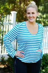 Plus Size Activewear - Always For Me Active Striped Onionskin Hooded Top #8714