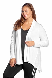 Plus Size Activewear Marika Curve Plus Camille Shark Bite Cardigan # MKM021SA - White $29.50
