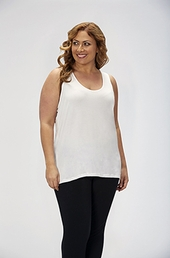 Plus Size Activewear Marika Curve Plus Mia High Low Tank #MKF000SA - White $48