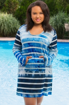 Plus Size Always For Me Cover Ombre Stripe Tunic #9213X