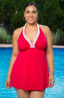 Plus Size Always For Me In Control Nantucket Ruffle Swimdress