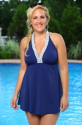 Plus Size Always For Me In Control Nantucket Ruffle Swimdress #IO755 - Navy ON SALE $66.75