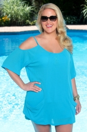 Plus Size Cover Ups AFM Cover Open Shoulder Tunic Style #2109x - Turq $39