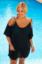 Plus Size Cover Ups AFM Cover Open Shoulder Tunic Style #2109x - Black $39