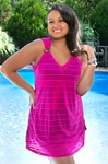 Women's Plus Size Cover Ups - Always For Me Cover Burnout Stripe Cover Up - NO RETURNS