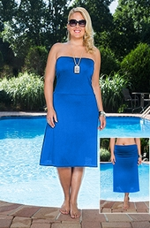 Plus Size Cover Ups Always For Me Cover Classic Convertible Skirt - Royal $49