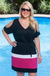 Plus Size Cover Ups - Always For Me Cover Color Block Tunic