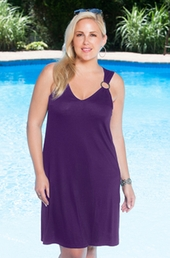 Plus Size Cover Ups Always For Me Cover Double Ring Cover Up #6051X - Plum $39