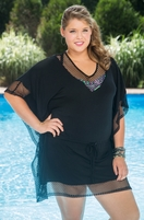 Always For Me Cover Fish Net Jersey Plus Size Swimsuit Cover-up