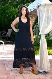 Plus Size Cover Ups - Always For Me Cover Jersey Lace Maxi Dress Style # 3914