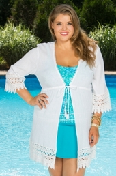 Plus Size Cover Ups Always For Me Cover Morocco Crochet Jacket #4139x - White $49