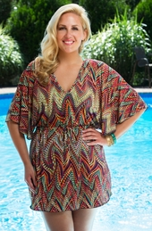 Plus Size Cover Ups - Always For Me Cover - Multi Zig Zag Tunic