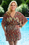 Plus Size Cover Ups - Always For Me Cover - Multi Zig Zag Tunic #5072X