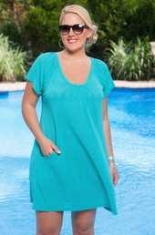 Plus Size Cover Ups Always For Me Cover Onion Skin Pocket Tunic #1166X - Aqua $39