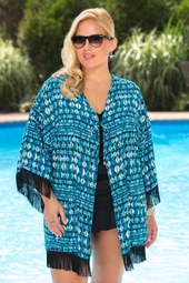 Plus Size Cover Ups Always For Me Cover Open Front Fringe Cover #9115X - Blue Multi $59