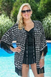 Plus Size Cover Ups Always For Me Cover Open Front Fringe Cover #9115X - Black Multi -ON SALE $30
