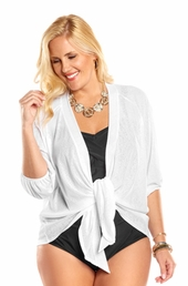 Plus Size Cover Ups Always For Me Cover Sheer Cover Up Jacket #1177X - White $29