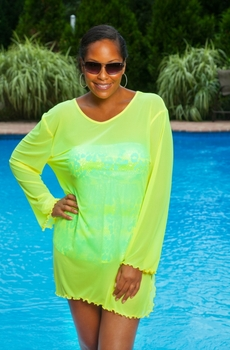 Women's Plus size Cover Ups - Always For Me Cover Sheer Mesh Swimwear Coverup