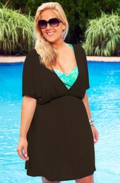 Women's Plus Size Cover Ups - Always For Me Cover Silky V Neck Tunic