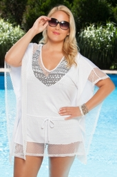 Women's Plus Size Cover Ups - Always For Me Cover Fish Net Jersey Cover #4115X - $29.00