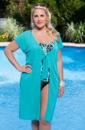 Plus Size Cover Ups Always For Me Cover Tie Front Cover Up #1112X - Aqua ON SALE $25