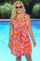 Plus Size Cover Ups Always For Me Cover Tropical Sunset Dress