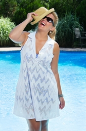Plus Size Cover Ups - Always For Me Cover Zig Zag Embossed Tunic #14204 - White $36.75