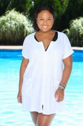 Women's Plus Size Cover Ups - Always For Me Cover Zip Front Tunic Terry Cover Up  #74263 - White $19.50