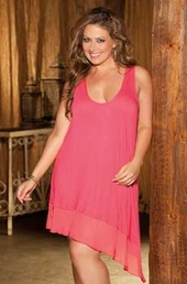 Plus Size Lingerie Knit Ballerina Gown #3252X - Coral $49