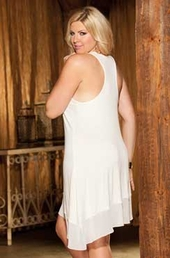 Plus Size Lingerie Knit Ballerina Gown #3252X - Ivory $49