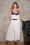 Women's Plus Size Lingerie - Pleated Chiffon & Contrast Lace Cami Top & Pants Set