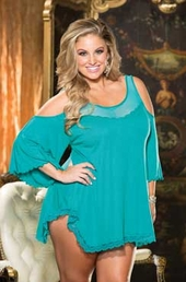 Plus Size Lingerie Rayon Jersey Sleepshirt #3257 - Teal $40.50