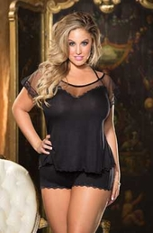 Plus Size Lingerie Rayon Knit Camisole Top & Pant Set #2133X - Black $49
