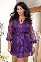 Plus Size Lingerie Stretch Lace Robe & Charmeuse Chemise Set