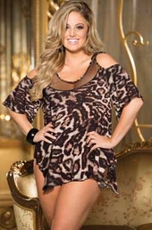 Plus Size Lingerie Supple Rayon Animal Print Sleepshirt