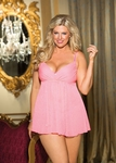 Women's Plus Size Lingerie - Yor-Yu Sparkle Chiffon Underwire Baby Doll - NO RETURNS