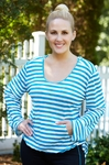 Plus Size Activewear - Always For Me Active Striped Onionskin Hooded Top