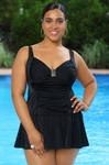 Women's Plus Size Swimwear - Always For Me In Control Somerset Shirred Swim Mini #IO737